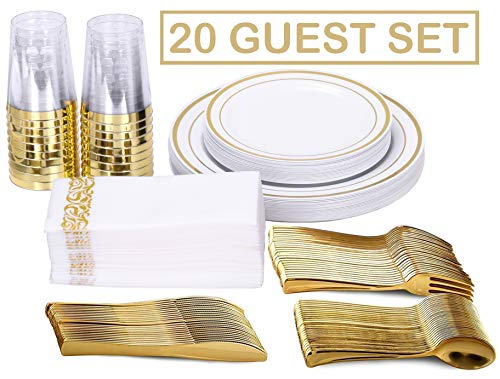FineDining Gold Plastic Silverware Set - Premium Quality Disposable Utensils - 120 Pieces - 20 Forks, 20 Spoons, 20 Knives, 20 Cups, 20 Dinner Plates, 20 Salad Plates - Heavyweight Plastic Dinnerware ()