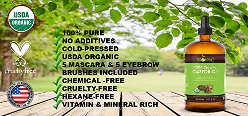 Organic Castor Oil By Sky Organics, Cold-Pressed, 100% Pure, Hexane-Free Castor Oil - Dry Skin, Hair Growth, Eyelashes growth and eyebrows growth- Caster Oil Lash Enhancer with Mascara Brushes (30ml) by Sky Organics (Image #4)