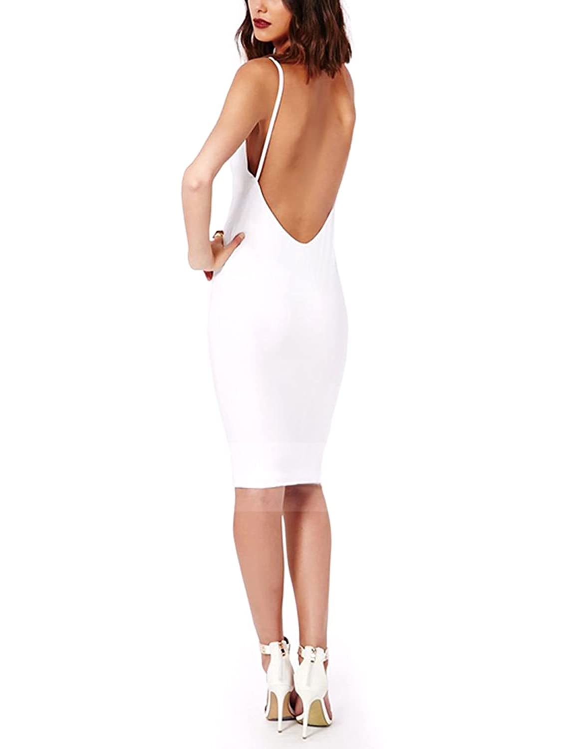 Moxeay Women Sexy Backless Back Halter Strap Bodycon Dress (L, White)