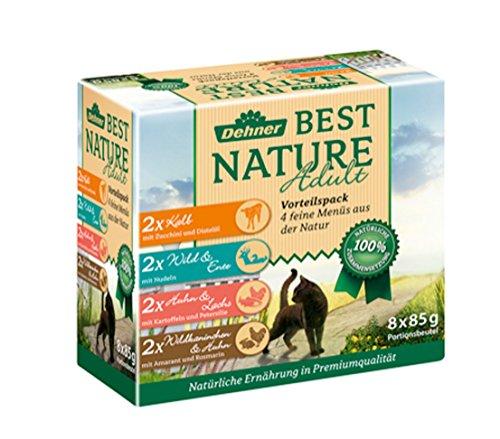 Dehner Best Nature Katzenfutter Adult, Multipack, je 2 x Kalb, Wild, Huhn und Kaninchen, im Beutel, 8 x 85 g (680 g)