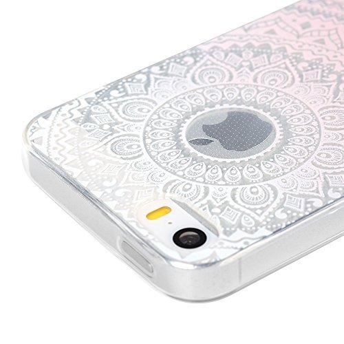 Kasos Coque iPhone 5 5S SE, Coque Housse Case Bumper Étui de Protection en TPU Silicone Gel Souple Flexible Ultra Slim Mince Antichoc Motif Rose