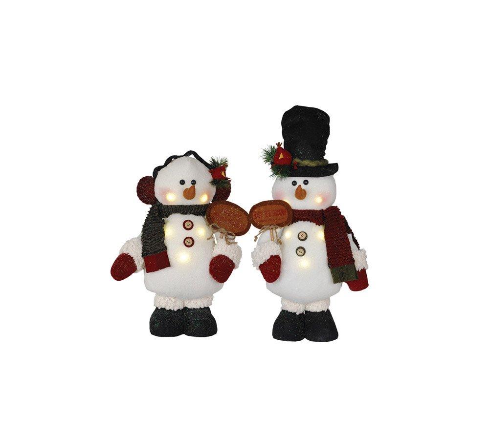 Santa's Workshop 2434 LED Snowman with Sign Figurine, Set of 2, 16'' ,,