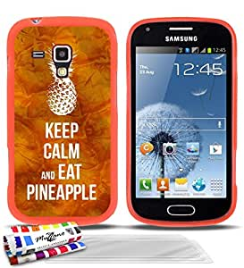"""Carcasa Flexible Ultra-Slim SAMSUNG GALAXY TREND de exclusivo motivo [Keep Calm And Eat Pineapple] [Naranja] de MUZZANO  + 3 Pelliculas de Pantalla """"UltraClear"""" + ESTILETE y PAÑO MUZZANO REGALADOS - La Protección Antigolpes ULTIMA, ELEGANTE Y DURADERA para su SAMSUNG GALAXY TREND"""