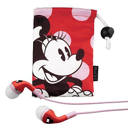 Minnie Mouse Noise Isolating Earphones with Travel Pouch, DY-M153 (Minnie Mouse Red) -