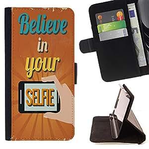 King Case - FOR Samsung Galaxy Note 3 III - Believe in your selfie - Prima caja de la PU billetera de cuero con ranuras para tarjetas, efectivo Compartimiento desmontable y correa para la mu?eca
