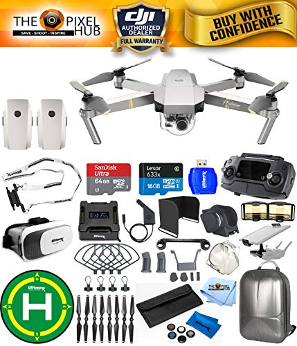 DJI Mavic Pro Platinum Edition Pro Accessory Bundle with Backpack, 7 Piece Filter Kit, Vest Strap, Landing Pad Plus Much More (2 Batteries Total)
