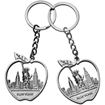 2X Big Apple NYC Attractions Cityscape Metal Keychain Souvenir Key Ring-Set of 2