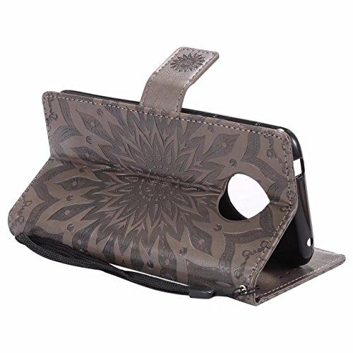 Laybomo Motorola Moto E5 Ledertasche Schuzhülle Weiches TPU Silikon Cover Magnetisch Stehen Brieftasche Schale Handyhülle für Motorola Moto E5 mit Kartensteckplatz, Blumenprägung (Roségold) Grau