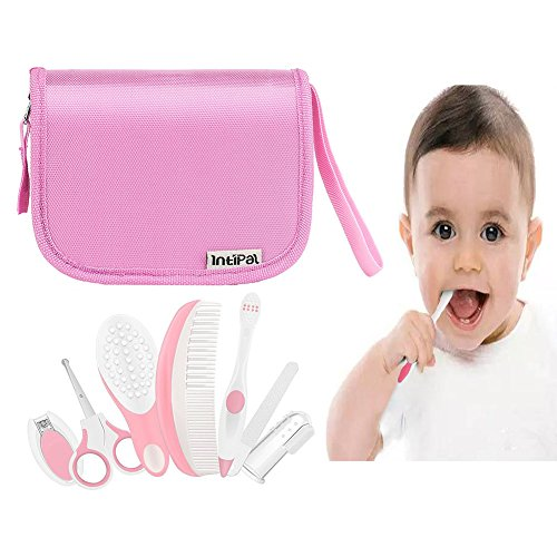 IntiPal Essential Baby Healthcare and Grooming Kit Set - Nail Care Set with Nail Clipper, Brush, File, Scissors, Comb, Toothbrush & Finger Toothbrush for Infants, Newborns, Kids, Boys and Girls (Pink)