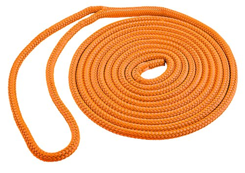 (Shoreline Marine Double Braid Polyester Dock Line, Neon Orange, 3/8-Inch x)