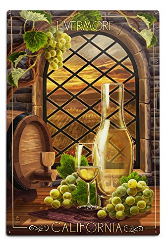 Chardonnay Best California - Lantern Press Livermore, California - Chardonnay (12x18 Aluminum Wall Sign, Wall Decor Ready to Hang)