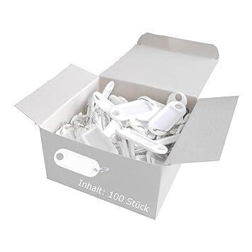 Wedo 262801800 Llavero con anillo de plástico, etiquetas intercambiables, 100 piezas, blanco
