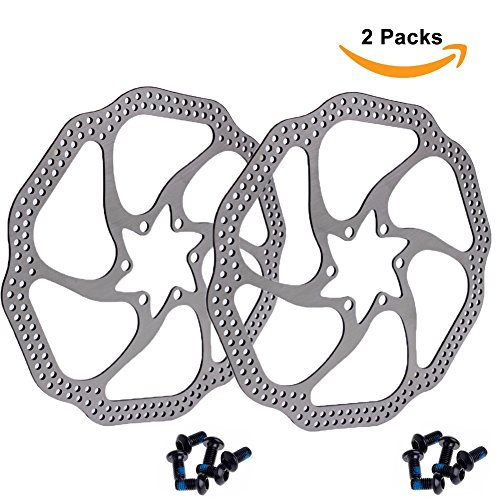 160mm 180mm 203mm Disc Brake Rotor with 6 Bolts Stainless Steel Bicycle Rotors Fit for Road Bike, Mountain Bike, MTB, BMX (Stainless Steel, 2pcs)