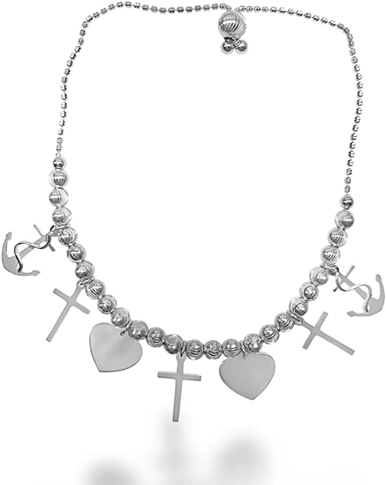 Rhodium Plated Sterling Silver Horizontal Cross Heart Charm Bracelet
