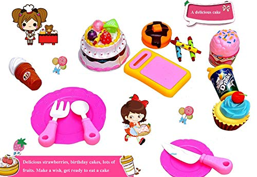 FunBlast Birthday DIY Pretend Role Play Toys for Kids, Plastic Kitchen/Restaurant Birthday Party 24 Pcs Cake Cutting Set Play Fast Food Set Toy for Kids|Girls|Boys