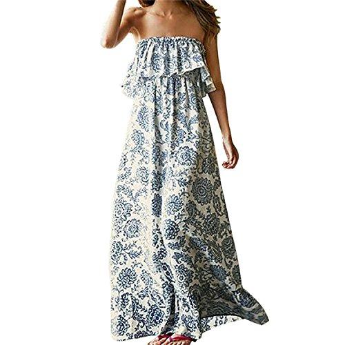 Vestido de Verano Largo Maxi Falda Mujer Casual Elegante Boda Playa Fiesta Noche Mujer Boho vestido de noche Maxi playa Sundress: Amazon.es: Ropa y ...