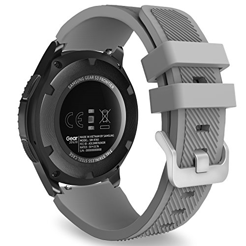 MoKo Gear S3 Frontier/Classic Watch Band, Soft Silicone Replacement Sport Strap for Samsung Gear S3 Frontier / S3 Classic/Galaxy Watch 46mm / Moto 360 2nd Gen 46mm Smart Watch, Gray