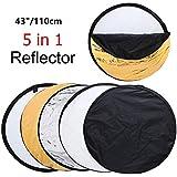 MOUNTDOG 43'' Photography Reflector Photo Video Studio Multi Collapsible Disc 5-in-1 Lighting Reflector for Softbox Lighting Portable Collapsible Light Reflector