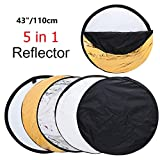 43'' Photography Reflector Photo Video Studio Multi Collapsible Disc 5-in-1 Lighting Reflector for Softbox Lighting Portable Collapsible Light Reflector