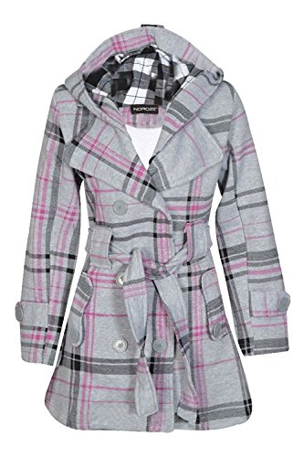 Noroze Womens Check Hood Plus Size Duffle Coat (10 (UK 14), Grey Tartan) (Tartan Hooded Down Coat)