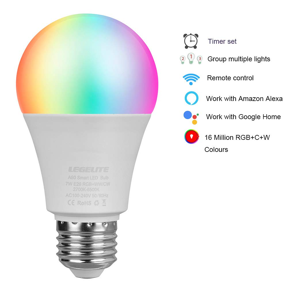 LED WiFi Smart Light Bulb, E26 WiFi Light Bulbs Compatible with Alexa Google Home and IFTTT, RGBCW Color Changing, Cool White and Warm White Dimmable, No Hub Required, A19 60W Equivalent (4 Pack) by LEGELITE (Image #2)
