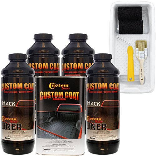 Custom Coat Black 4 Liter Urethane Roll-On, Brush-On or Spray-On Truck Bed Liner Kit with Custom Coat Paint Roller, Brush Applicator Kit