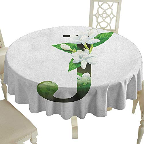 The Pattern Round Table Cloth 36 Inch Letter J,Abstract Floral Arrangement J Silhouette and Jasmine Blossoms ABC Concept Green White Black Great for,Holiday & More