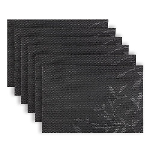 Homcomoda PVC Placemats Woven Vinyl Place Mats Heat-Resistant Stain-Resistant Table Mats (Set of 6, A-Black)