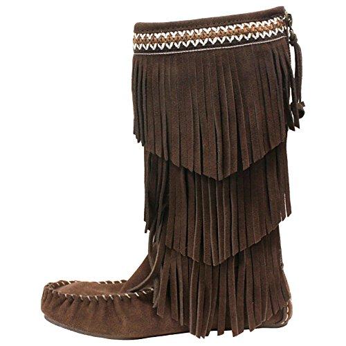 Lamo Women's Virginia Fringe Boot, Chocolate, 6 M US