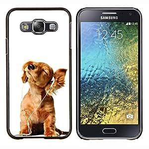 YiPhone /// Prima de resorte delgada de la cubierta del caso de Shell Armor - Golden Retriever música blanca del perrito - Samsung Galaxy E5 E500