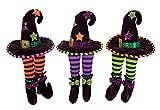"14"" Decorative Plush Green and Black Witch Hat Shelf Sitter Halloween Decoration"