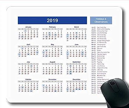 Yanteng Alfombrilla de ratón Calendario 2019 Personalizada ...