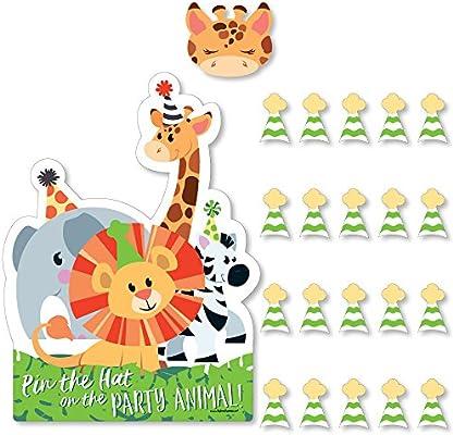 Amazon.com: Animales de fiesta de la selva – Pin el sombrero ...