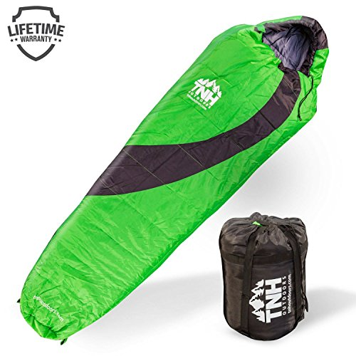 TNH Outdoors Sleeping Bag â Mummy Lightweight Portable, Waterproof, Comfort with Compression Sack â Great for 3 â 4 Season Camping Warm in Winter, Travelling, Hiking, Adult Outdoors Gea