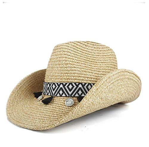 YUXUJ Cowboy Hat Lady Bohemian Tassel Women Hollow Western Summer Straw SombreroCap Beach Cowgirl Jazz Sun Hat