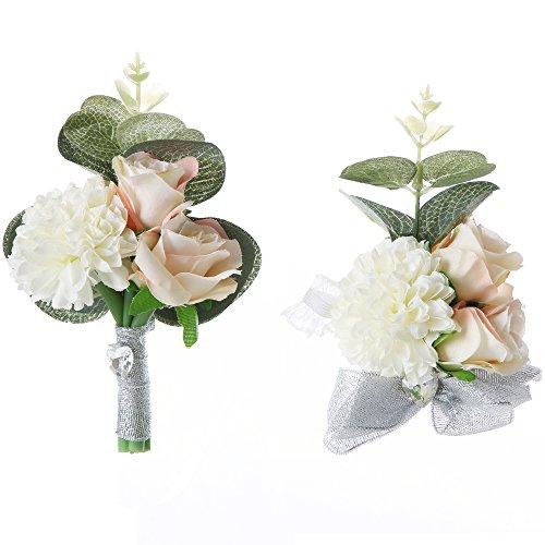 Felice Arts Handmade Boho Flower Headband Hair Wreath Halo Floral Garland Crown Headpiece with Adjustable Ribbon Festival Wedding Party (PINK SET)