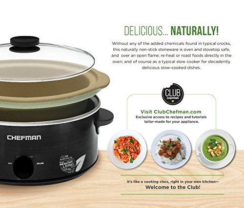 Chefman Slow Cooker, All Natural XL 7 Qt. Pot, Glaze-Free, Chemical-Free Stovetop, Oven, Dishwasher Safe Crock; The Only Naturally Nonstick Paleo Certified Slow Cooker, Free Recipes Included by Chefman (Image #3)
