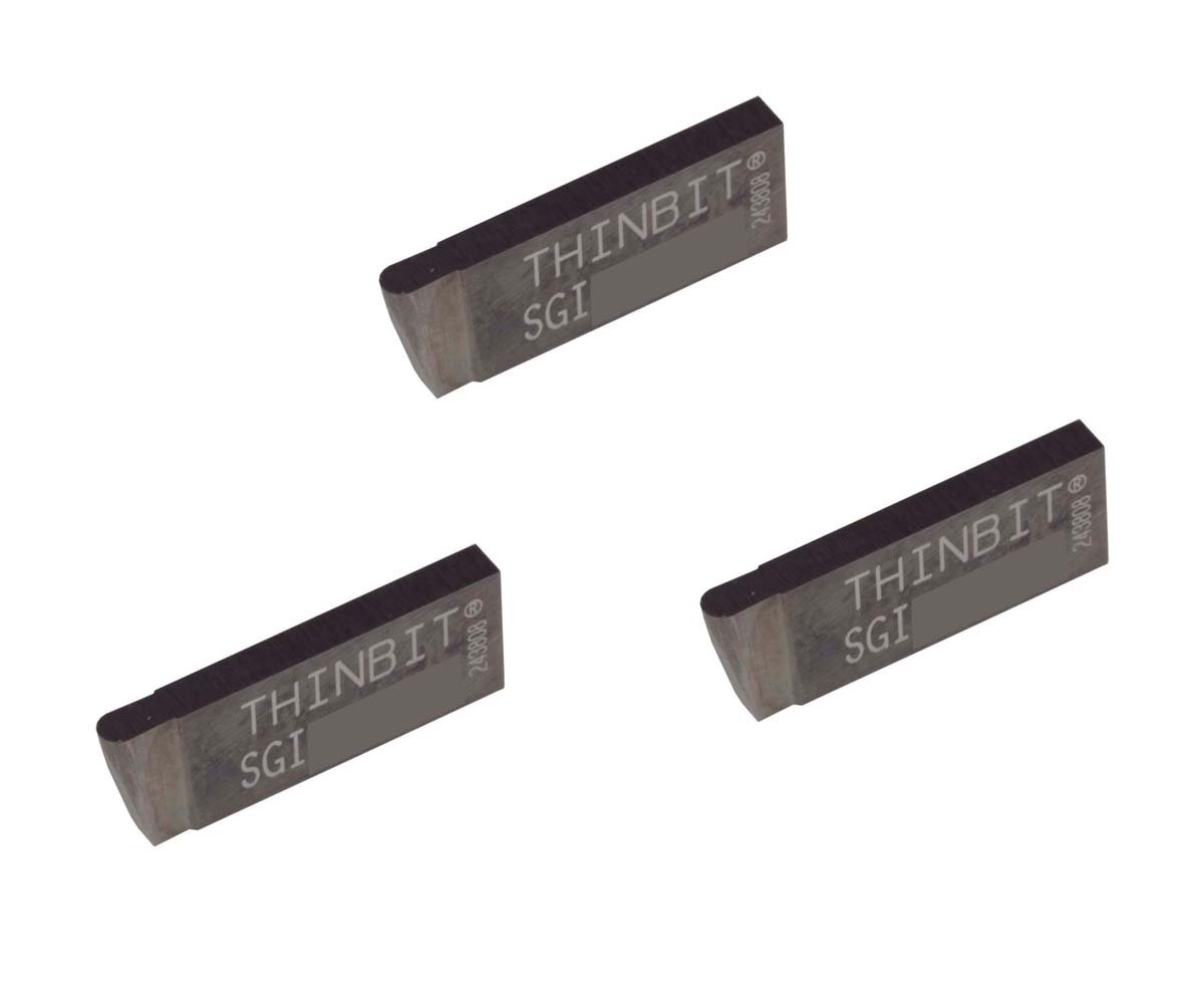 Grooving Insert for Non-Ferrous Alloys Uncoated Carbide Aluminium and Plastic Without Interrupted Cuts THINBIT 3 Pack SGI059D5FR 0.059 Width 0.100 Depth Full Radius