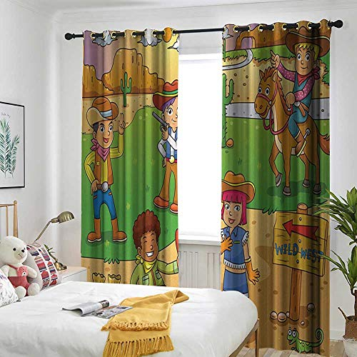 (TRTK Room Darkening Wide Curtains Rod Curtain Panel for Bedroom and Living Room Cartoon,Image of Child Cowboy Cute Wild West Cartoon North America Culture Kids Decor,Brown Green)