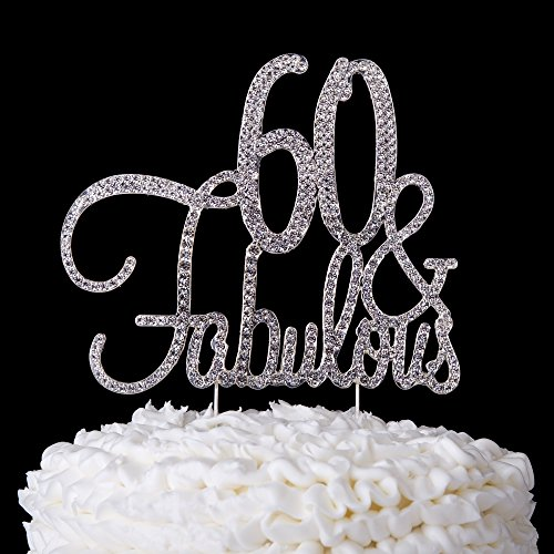 60-Fabulous-Cake-Topper-60th-Birthday-Party-Supplies-Silver-Decoration-Silver