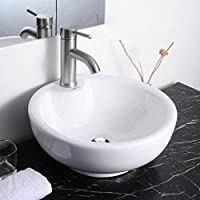 Round Bowl Bathroom Porcelain Vessel Sink White Ceramic Basin and Chrome Drain by Yescom
