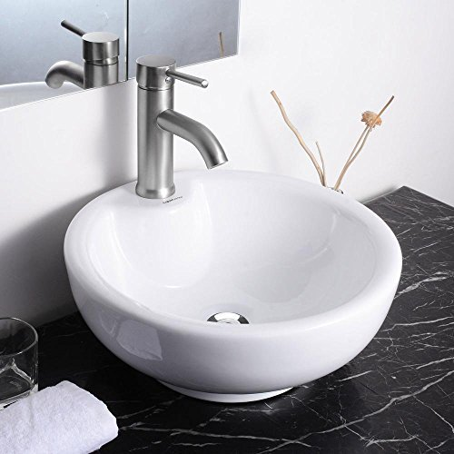 Round Bowl Bathroom Porcelain Vessel Sink White Ceramic Basin and Chrome Drain by Yescom by Yescom