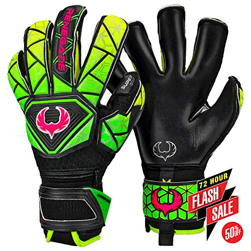 Renegade GK Vortex Venom Roll-Hybrid Cut Level 3 Goalie Gloves with Hypergrip Palms - Youth & Adult Soccer Gloves Goalkeeper Size 9 - Outdoor/Indoor Soccer Gloves Size 9 - Black, Yellow, Green