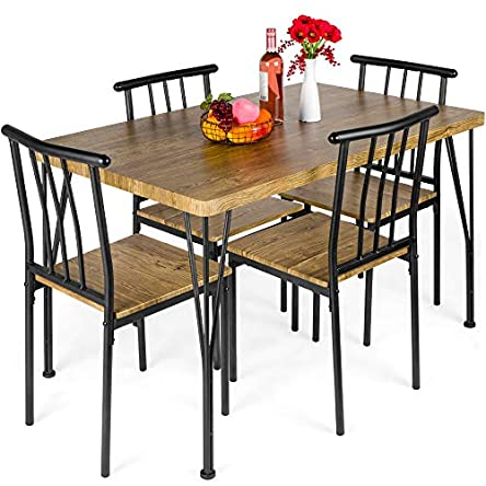 Best Choice Products 5-Piece Metal and Wood Indoor...