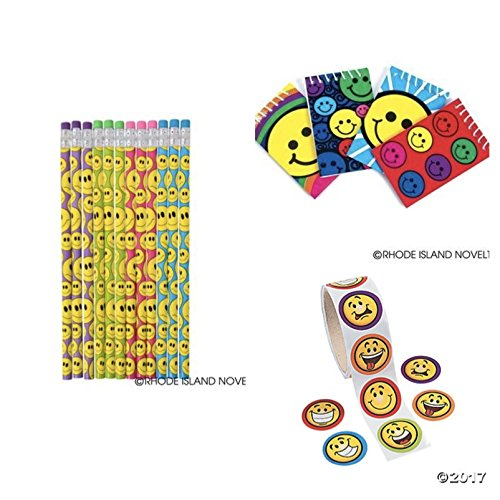 72 SMILEY Face PARTY FAVORS -24 Each NOTEBOOKS - PENCILS - Stickers - SMILE Emoticon Emoji Classroom TEACHER (Smiley Face Party)