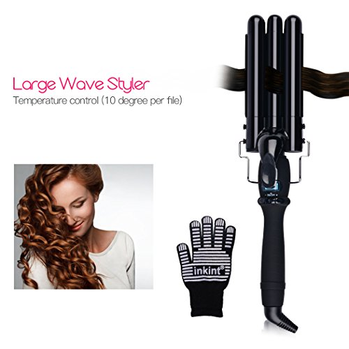 Price comparison product image inkint Hair Waver, LCD Display Triple Barrel Curling Iron, 3 Barrel Hair Waving Iron Dual Voltage for Jumbo S Beach Wave, 180°F-450°F (22mm)