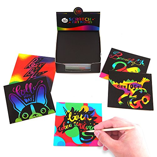 Jar Melo Scratch Art Notes; 130 Sheets; With Wooden Stylus; Rainbow Mini Notes; Scratch Magic Notes