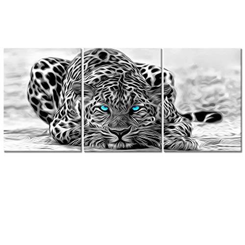 - Welmeco Black and White Abstract Leopard with Blue Eyes Animals Wall Art Decor Portrait Wildlife Pictures Canvas Prints Poster Ready to Hang for Room Decoration (03)