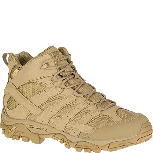 Merrell Mens Moab 2 Mid Tactical Wp, Color: Coyote, Size: 9, Width: M (J15849-9) (Desert Boots Hiking)