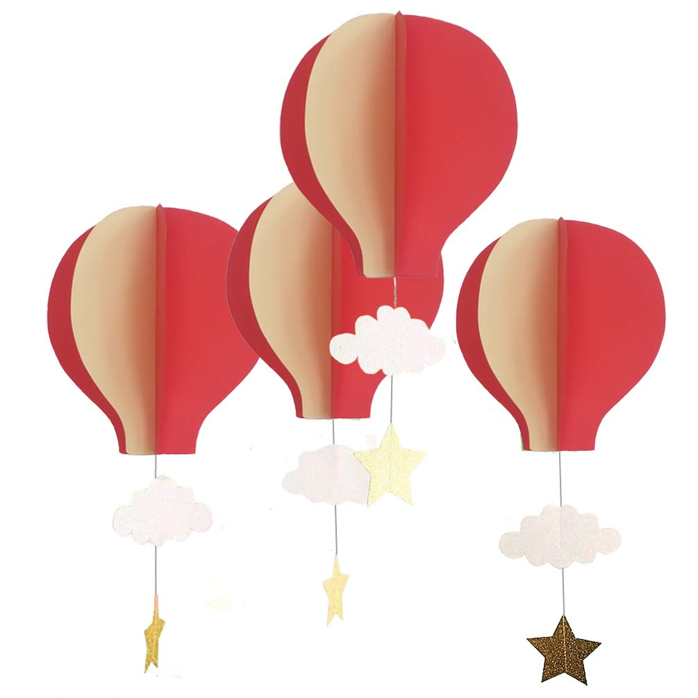 AZOWA 8 Pcs Large Size Hot Air Balloon 3D Paper Garland Hanging Decorations for Wedding Baby Shower Valentine's Day Christmas Décor Birthday Party Supplies (Red)